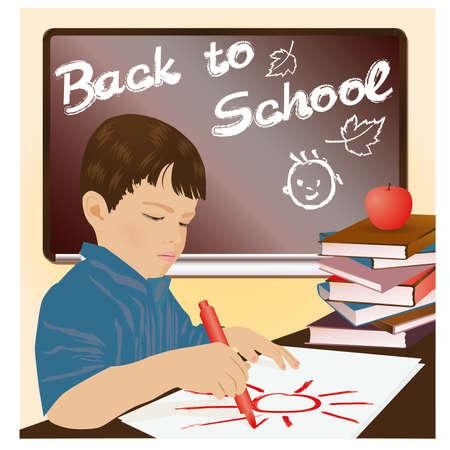 Schoolboy writing in a notebook, vector illustration Stock Vector - 20773447