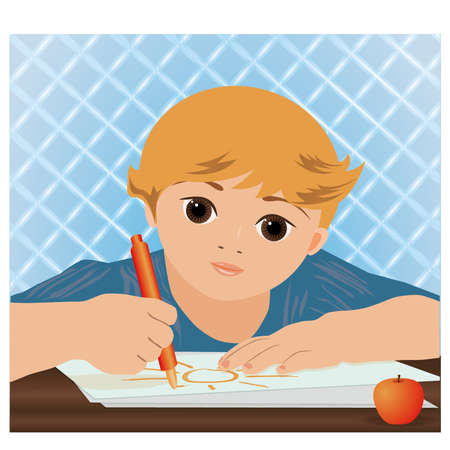 playroom: Young cute boy writing sun in a school notebook, vector illustration Illustration