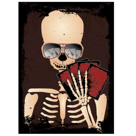 gambler: Skeleton gambler with sunglasses poker, vector illustration