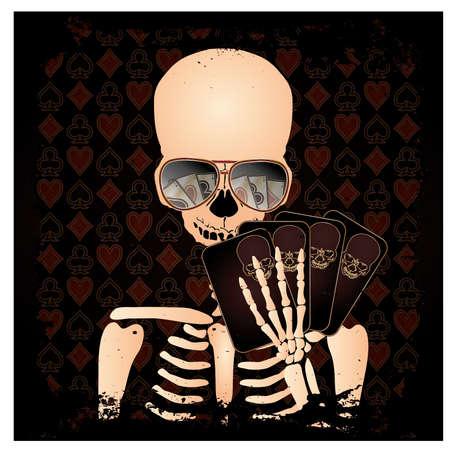 Skeleton gambler with poker cards, vector illustration