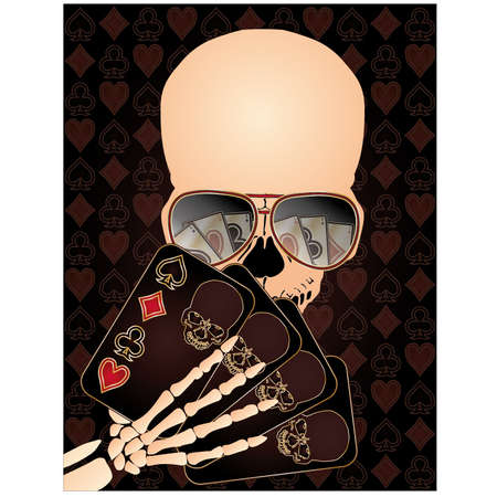 ace hearts: Skeleton playing poker, vector illustration