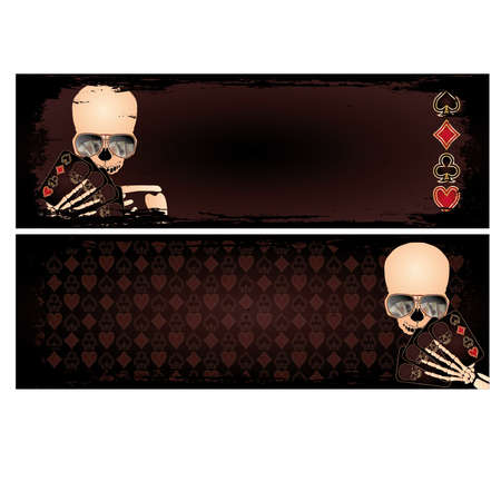 Two banners with poker skeleton, vector  Vector