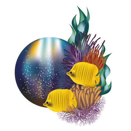 seafish: Underwater world banner with yellow fishes illustration Illustration