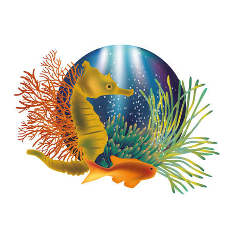 algae: Underwater world banner with seahorse and fish illustration
