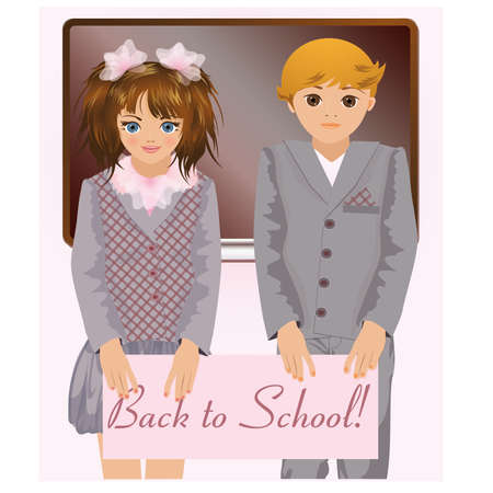 young schoolchild: Back to school, cute school children illustration Illustration