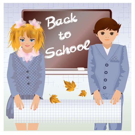Back to school, little school children Stock Vector - 21020839