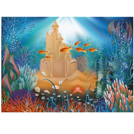 Underwater world wallpaper with sandcastle illustration