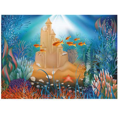 seafish: Underwater world wallpaper with sandcastle illustration