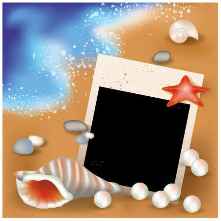 sea star: Summer photoframe with pearls illustration Illustration