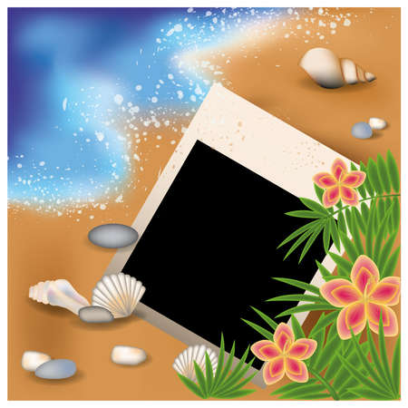 palmtree: Summer photoframe with flowers and palm-tree  illustration