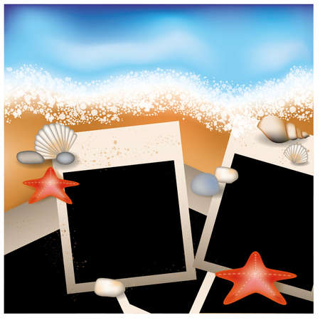 Summer photo frame with starfish and stone Vector
