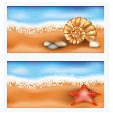 sea star: Summer beach banners with starfish and seashell Illustration