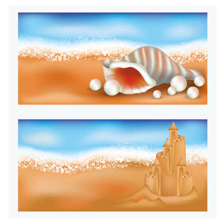 coastlines: Summer tropical banners with sandcastle and seashell
