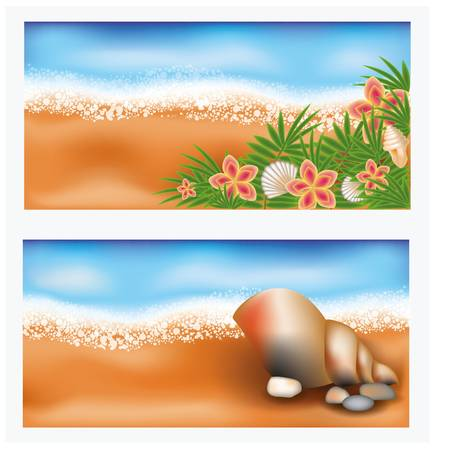Summer tropic banners with flowers and seashell Vector