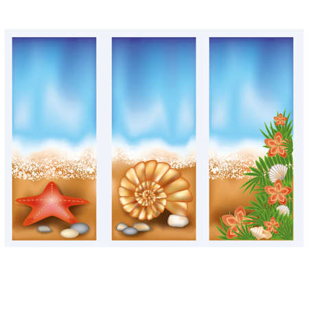 Set summer beach banners Vector