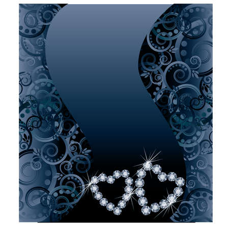 Love wedding card with two diamond hearts Vector