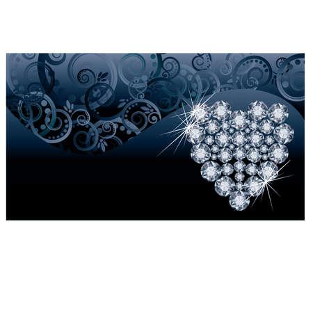 Wedding love invitation card with diamond heart Stock Vector - 21160002