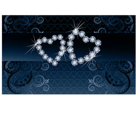 Wedding love banner with two diamond hearts Stock Vector - 21160005