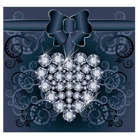 Romantic wedding postcard with diamond heart Stock Vector - 21160009