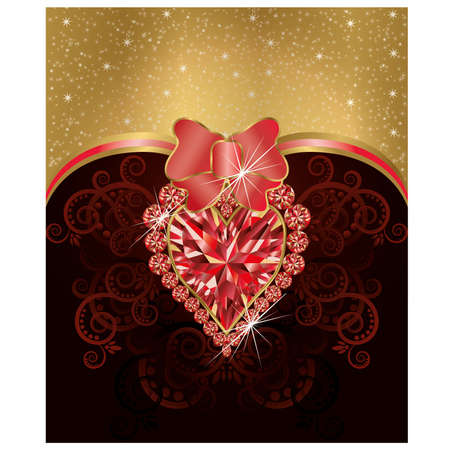 Wedding love greeting card with ruby heart Vector