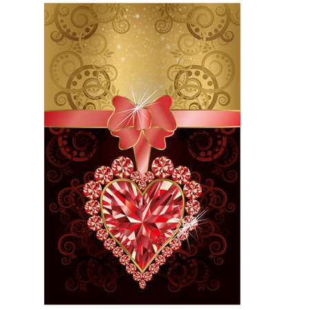 Wedding invitation card with ruby heart and floral pattern Vector
