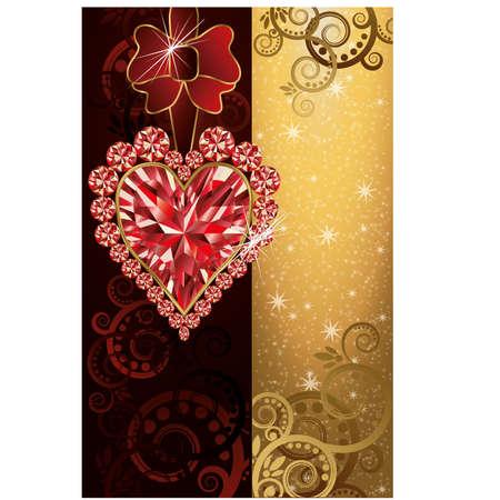 Wedding invitation blank with ruby heart Vector