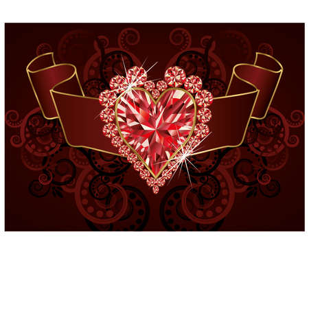 ruby stone: Wedding love banner with ruby heart Illustration
