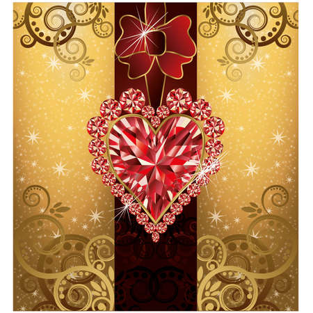 Wedding love postcard with ruby heart Stock Vector - 21160026