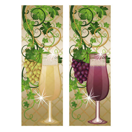 Two banner with wineglasses and grapes, vector  Vector