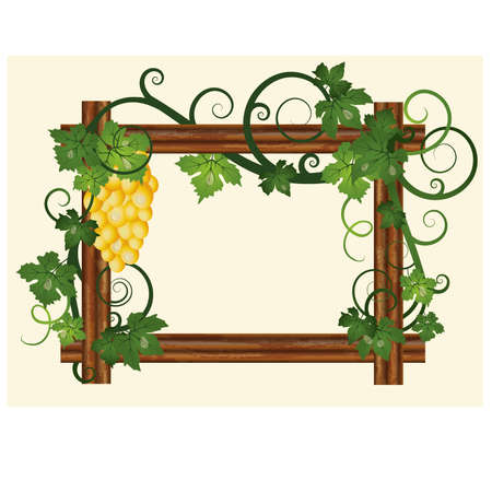 Wood frame with grape, vector illustration Vector