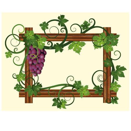 Wooden frame with grapes, vector illustration Vector