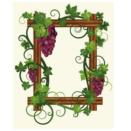 Houten frame met bladeren en druiven, vector illustratie