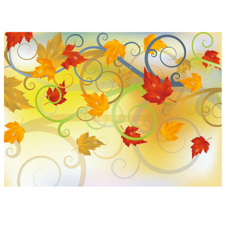 Herfst kaart met esdoorn bladeren, vector illustratie Stock Illustratie