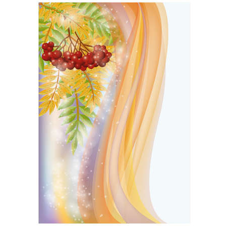 ashberry: Autumn banner with red rowan, vector illustration