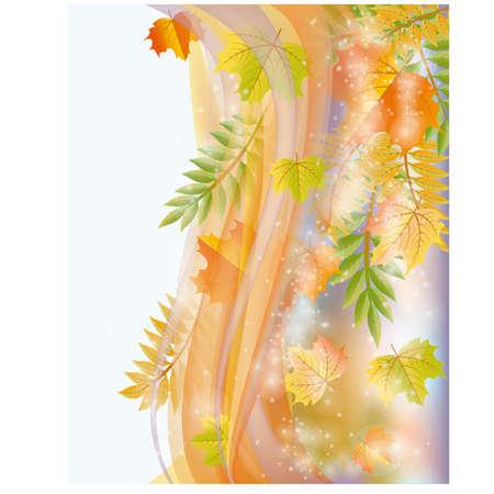 Herfst banner met bladeren, vector illustratie