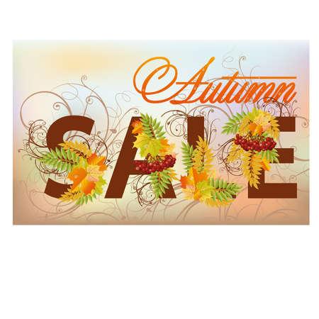 ashberry: Autumn sale card, vector illustration