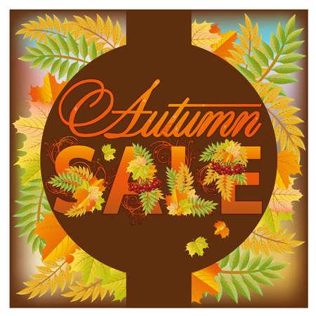 ashberry: Autumn sale poster, vector illustration
