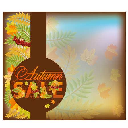 Autumn sale shop card, vector illustration