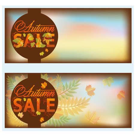 promotional offer: Set autumn sale banners, vector illustration