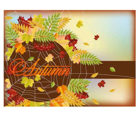 calendario noviembre: Tarjeta de felicitación del otoño, ilustración vectorial Vectores