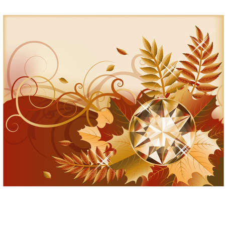 Autumn banner with precious gemstone, vector illustration Stock Vector - 21635354