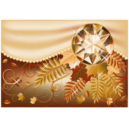 carats: Autumn card with precious gemstone, vector illustration