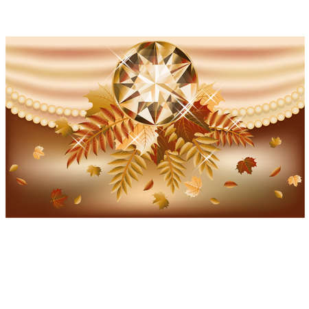 Autumn invitation card with precious gemstone, vector illustration Stock Vector - 21635369