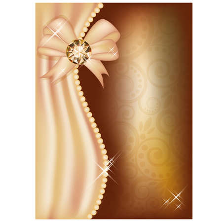 Greeting card with diamond and ribbon, vector illustration Stock Vector - 21635370