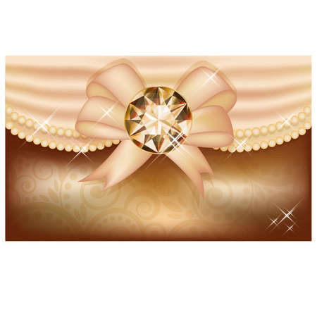 Invitation card with diamond and ribbon, vector illustration Stock Vector - 21635372