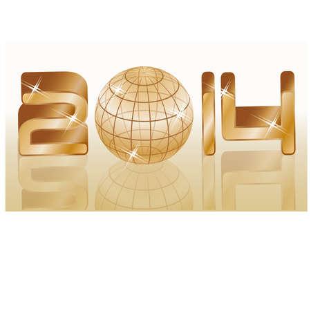 Golden new 2014 year backgroundillustration Vector