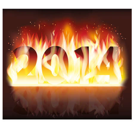 two thousand and fourteen: Happy fire 2014 new year banner Illustration