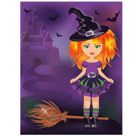 Happy halloween little witch, vector illustration  Vector