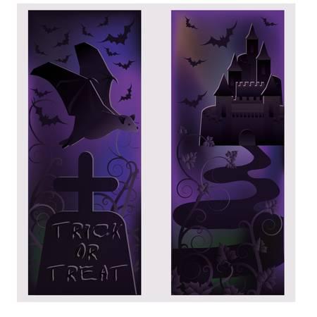 Two happy halloween banners, vector Vector
