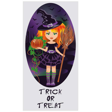 costume party: Trick or Treat Halloween card  Little witch